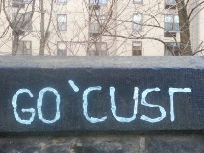 "Chewing gum graffiti reading ""Go 'Cuse"""
