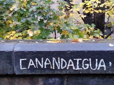 "Chewing gum graffiti reading ""Canandaigua"""