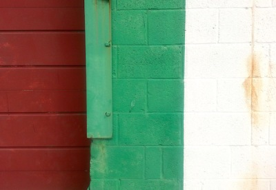 Garage wall in Italian red, green, and white
