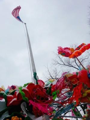 Pop des Fleurs with American flag