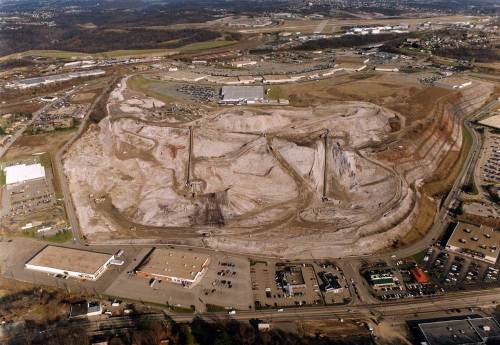 "Aerial photo of former slag heap ""Brown's Dump"""