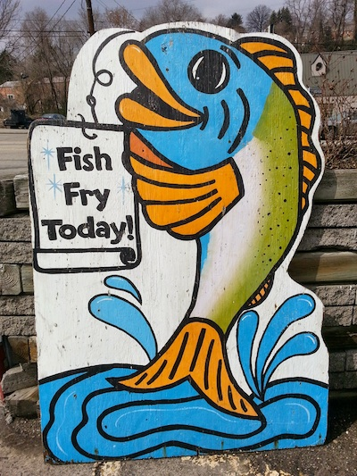 "hand-painted sign reading ""Fish Fry Today"""