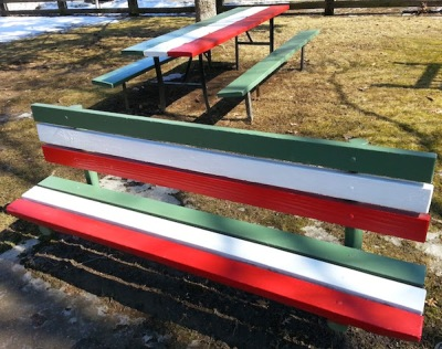 Park bench and picnic table in Italian colors
