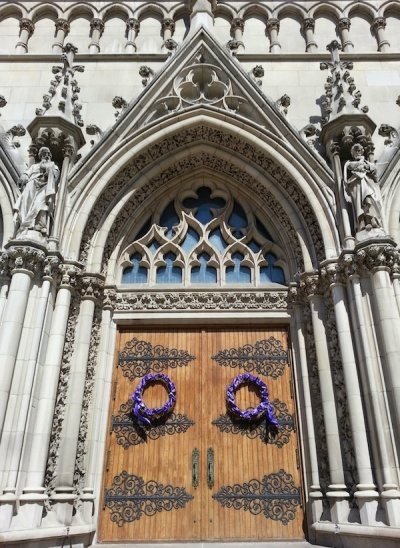 St. Paul's Cathedral front doors with Lenten purple wreaths