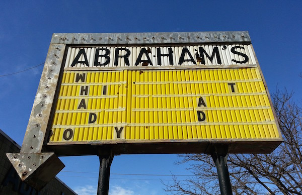 Old sign for Abraham's missing letters