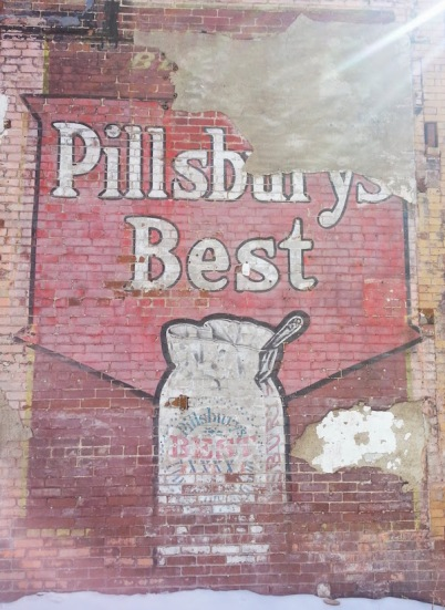 Painted wall advertisement for Pillsbury's Best flour