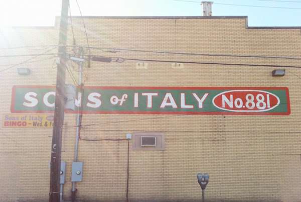 Painted wall sign for Sons of Italy No. 881, New Kensington