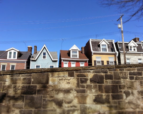 Lawrenceville row houses from Allegheny Cemetery