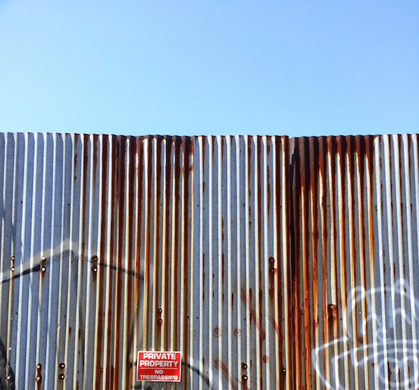 Corrugated metal wall, Lawrenceville