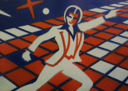 disco-themed pinball cabinet stencil
