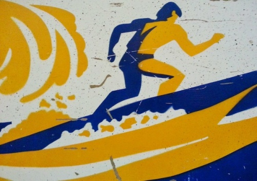 pinball cabinet stencil of surfer