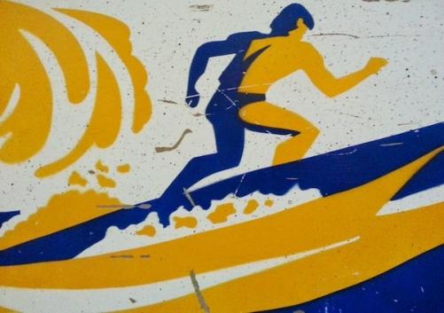 pinball cabinet stencil of surfer