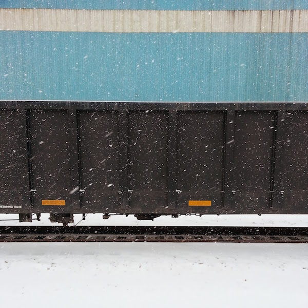 Coal car in snow