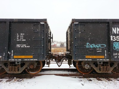 Coal cars in snow