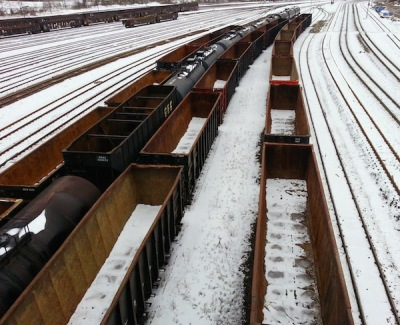 Rail yard with empty coal trains