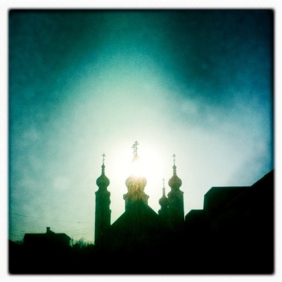 St. Nicholas Orthodox Church in silhouette