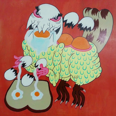 painting of a strange part chicken/part egg creature