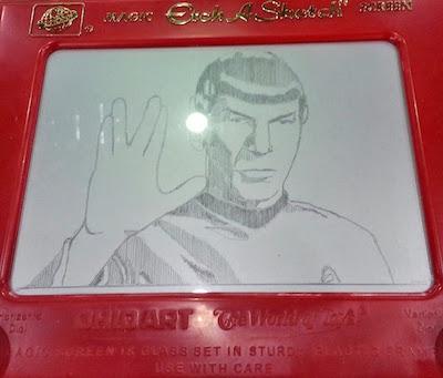 Spoke from Star Trek rendered on an Etch-a-Sketch