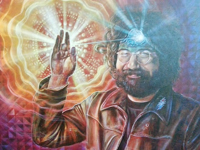 painting of Jerry Garcia with a glowing third eye