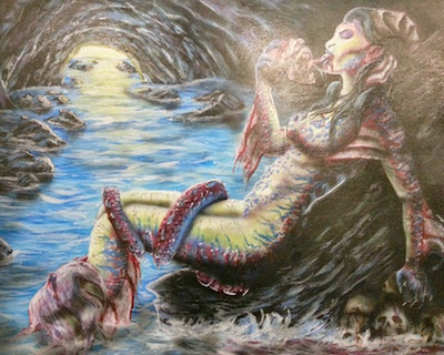 painting of female monster eating a human head