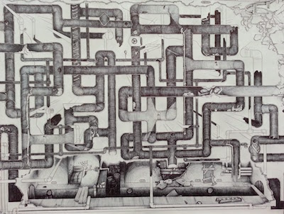 line drawing of intertwining pipes