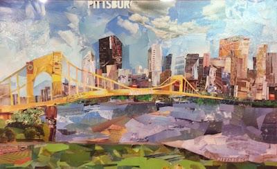 artwork of Pittsburgh skyline in cut paper