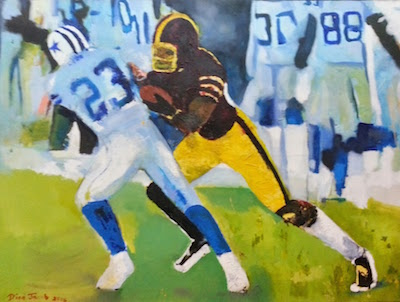 painting of two football players on the field