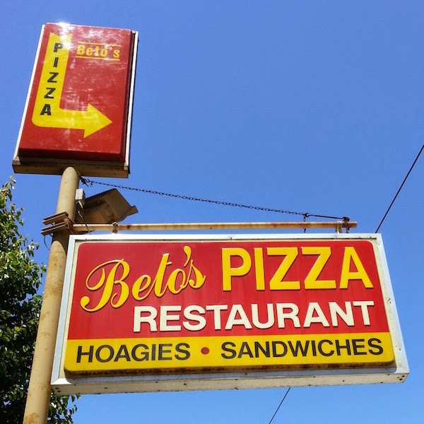 Sign for Beto's Pizza in Pittsburgh, Pa.