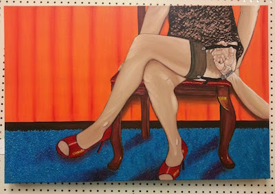 a painting mounted on a pegboard of a naughty lady with a weird disembodied hand grabbing at her