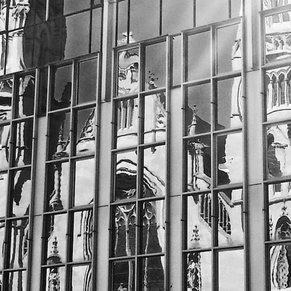 St. Paul's Cathedral in Pittsburgh reflected in mirrored glass