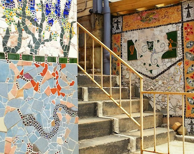 Stairway between houses with mosaics, Pittsburgh, Pa.