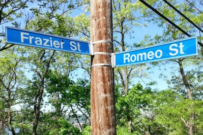 Street signs for Romeo and Frazier Street intersection, Pittsburgh, Pa.