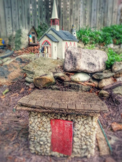 model hut and church
