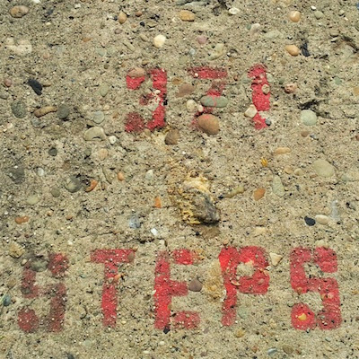 "Stenciled marker reading ""371 Steps"" for Rising Main Way, Pittsburgh, Pa."