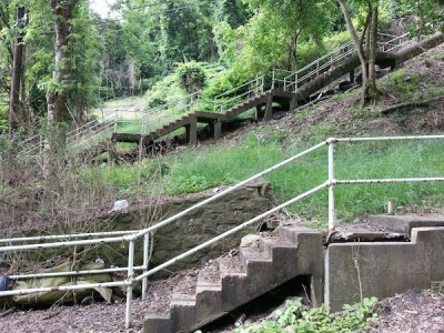 Two sets of steps of city steps in Pittsburgh, Pa.