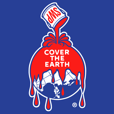 "Sherwin-Williams ""Cover the Earth"" identity showing a can pouring dripping red paint on the earth"
