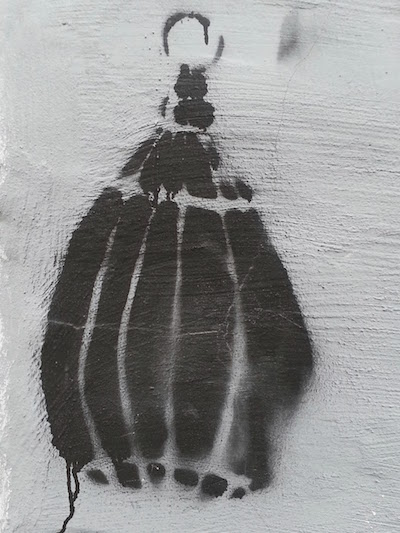 stencil graffiti of hand grenade, Pittsburgh, Pa.