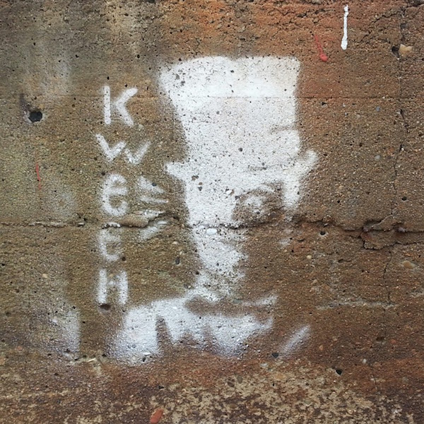 """stencil graffiti of man with top hat and the word """"kween"""", Pittsburgh, Pa."""