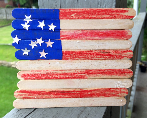 American flag made from popsicle sticks