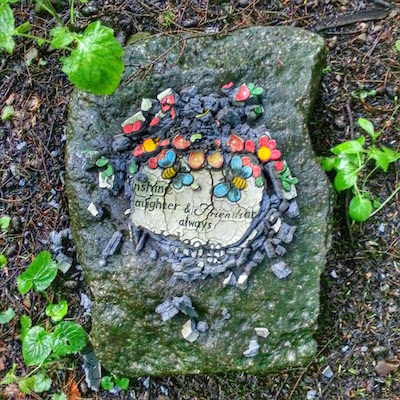 stone grave marker for pet with disintegrating tile, Lily Dale, NY