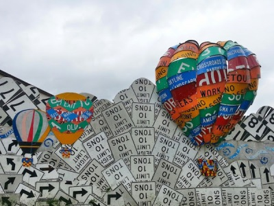 Meadville PennDOT sign sculpture fence of hot air balloons