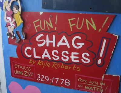 Handmade sign advertising shag dancing classes