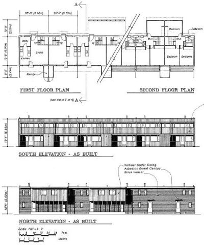 Aluminum City Terrace plan and elevation drawings, 1942