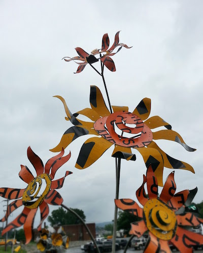 flower sculpture made from highway roadsigns, Meadville, PA