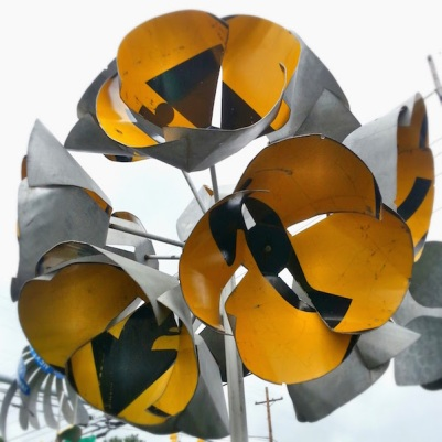 flower sculpture made from highway detour roadsigns, Meadville, PA
