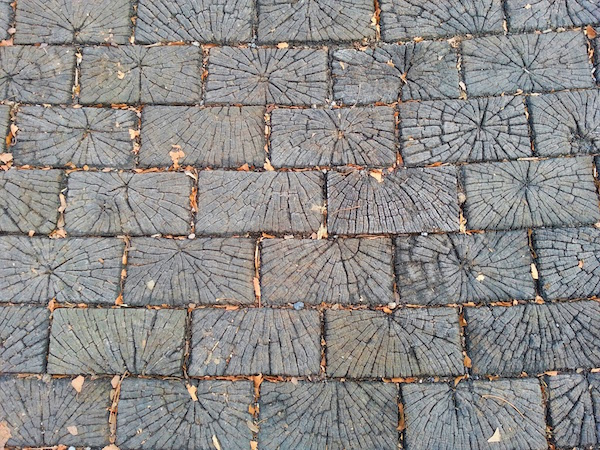 Section of wooden street in Pittsburgh, PA