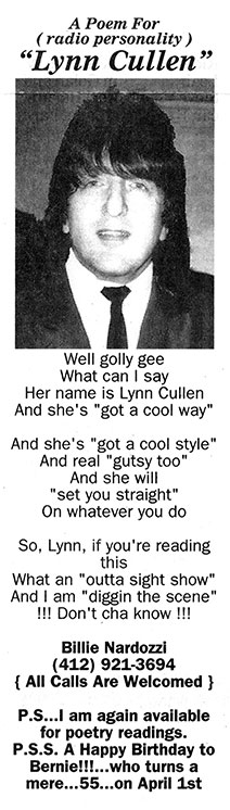 """A poem titled """"Lynn Cullen"""" from the newspaper classified ads by Billie Nardozzi"""