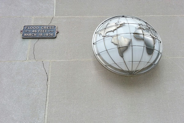 Close-up of a marker for the St. Patrick's Day flood of 1936 on the former Joseph Horne department store, downtown Pittsburgh, PA