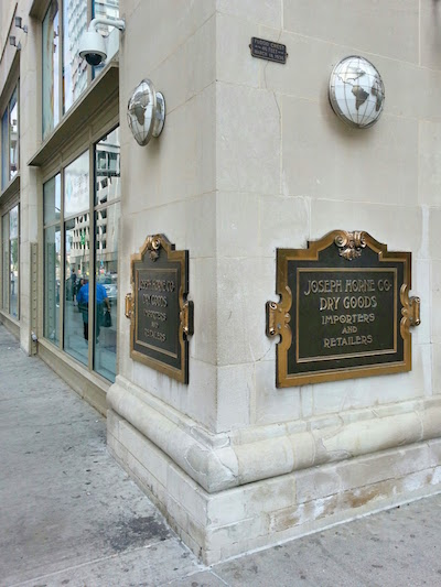 Marker for the St. Patrick's Day flood of 1936 on the former Joseph Horne department store, downtown Pittsburgh, PA