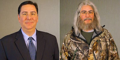 "Two photos of Pittsburgh Mayor Bill Peduto: one in a suit, one in disguise for the television show ""Undercover Boss"""